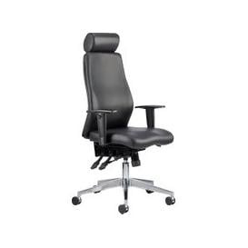 image-Brechin High Back Leather Faced Executive Chair With Headrest, Black