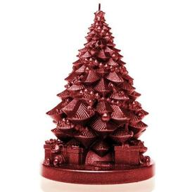 image-Xmas Tree with Gifts Unscented Novelty Candle Candellana Colour: Red Metallic