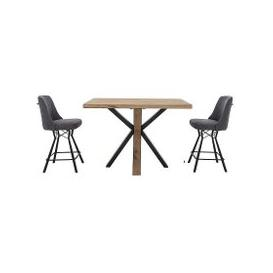 image-Habufa - Detroit Bar Table and 2 Bar Stool Set - Grey