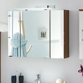 image-90cm x 68cm Surface Mount Mirror Cabinet with Lighting Belfry Bathroom Finish: Walnut