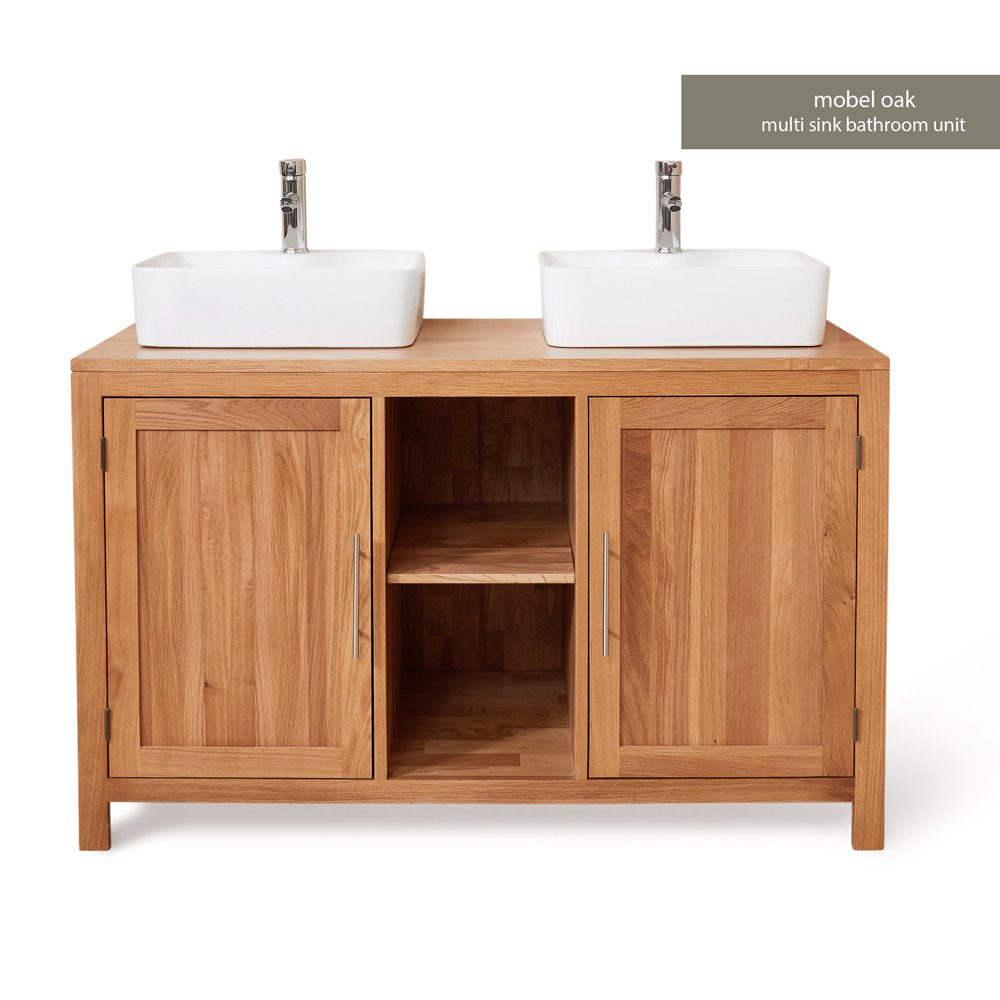 image-Mobel Oak Bathroom Furniture 2 Door Square Dual Sink Unit