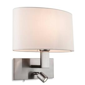 image-Firstlight 4938 Webster Two Light Wall Light In Brushed Steel With Cream Shade And LED Reading Light