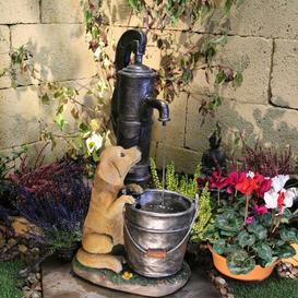 image-Puppy Fountain Resin Water Feature with Light Sol 72 Outdoor Power Source: Solar