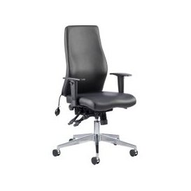 image-Brechin High Back Leather Faced Executive Chair, Black, Free Next Day Delivery