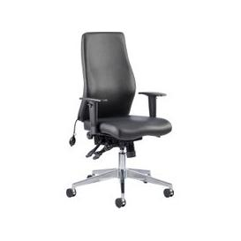image-Brechin High Back Leather Faced Executive Chair, Black