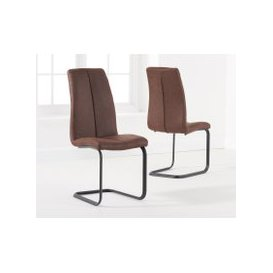image-Liza Brown Fabric Dining Chairs (Pairs)