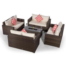 image-Villatoro Brown Rattan 4 X 2 Seat Sofa With 2 X Ice Bucket Rectangle Coffee Table, Outdoor Patio Garden Furniture Dakota Fields