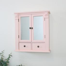 image-Pink Mirrored Bathroom Wall Cabinet