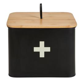 image-Matt Black Wooden First Aid Box Black