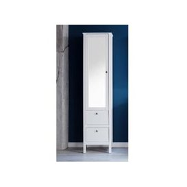 image-Valdo Mirrored Bathroom Cabinet Tall In White With 1 Door