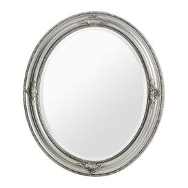 image-Rustin Oval Vintage Design Wall Bedroom Mirror In Silver Frame