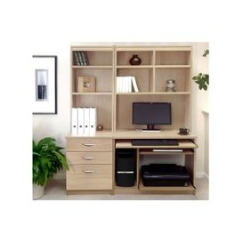 image-Small Office Desk Set With 3 Drawers, Computer Workstation & Hutch Bookcases, Sandstone, Free Standard Delivery