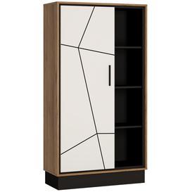 image-Brolo Wide Bookcase - Dark Walnut and High Gloss White