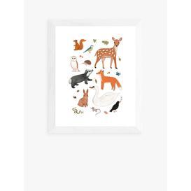 image-Kid of the Village - 'Woodland Animals' Wood Framed Print, 56 x 46cm, Brown/Multi