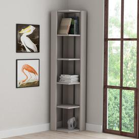image-Corner Bookcase Zipcode Design Colour: Light Mocca