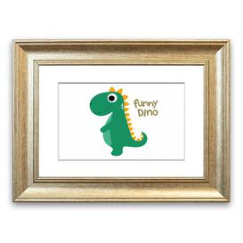 image-'Funny Dino Childrens' Framed Graphic Art East Urban Home Size: 70 cm H x 93 cm W, Frame Options: Silver