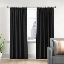 image-Pencil Pleat Blackout Thermal Curtains Marlow Home Co. Panel Size: 168 W x 229 D cm, Colour: Black