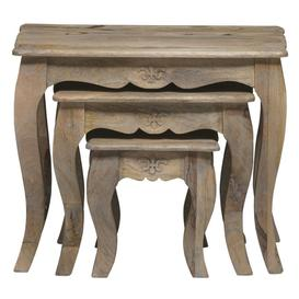 image-Urban Deco Fleur French Style Shabby Chic Nest of 3 Tables