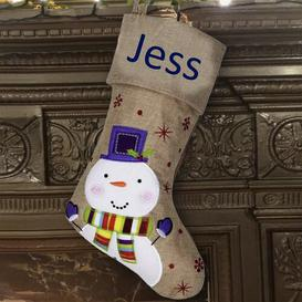 image-Snowman Personalised Christmas Stocking East Urban Home Colour: Navy Blue