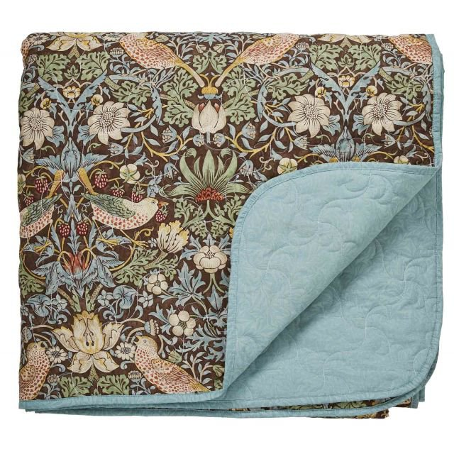 image-Morris Strawberry Thief Brown Quilted Throw