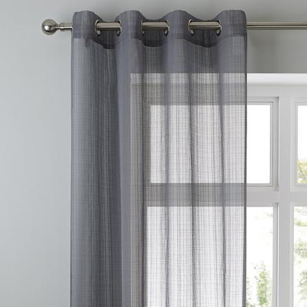 image-Elements Aspen Grey Sheer Eyelet Single Voile Panel Grey