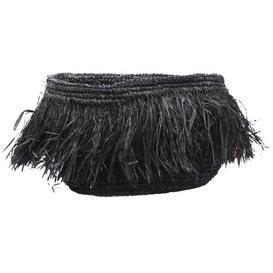 image-Raffia Wicker Basket Bazar Bizar Size: 16 cm H x 25 cm W x 25 cm D, Colour: Black