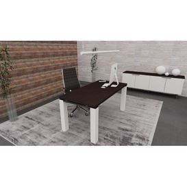 image-Francesca Writing Desk Ebern Designs Colour (Top/Frame): Wenge/White, Size: 75.5cm H x 160cm W x 80cm D