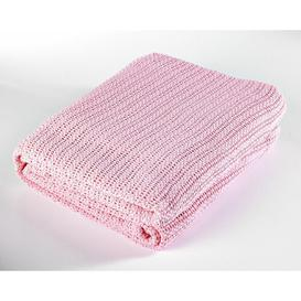 image-Soft Hand Woven Lightweight Cellular Blanket Symple Stuff Colour: Pink, Size: Single