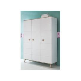image-Avira 3 Doors Childrens Wardrobe In Alpine White And Oak Trims