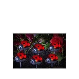 image-Smart Solar Ladybird Stake Light 6 Pack