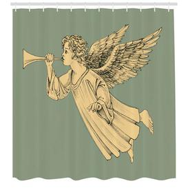 image-Angel Polyester Shower Curtain East Urban Home Size: 220cm H x 175cm W