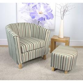 image-Evelyn Stripe Fabric Duck Egg Blue Tub Chair Set