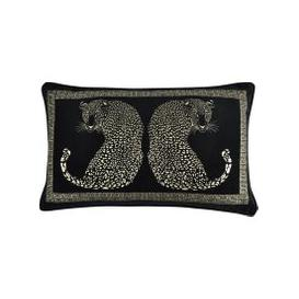 image-5A Fifth Avenue Black Leopard Cushion Black, Grey and White