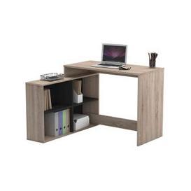 image-Doreen Corner Computer Desk In Brushed Oak And Matt Black