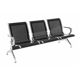 image-Spilsby Three Seat Bench Symple Stuff Colour: Silver and black