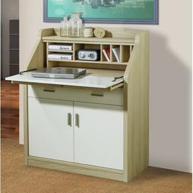 image-Menasha Lacquer Secretary Desk Ebern Designs Frame Colour: Oak Natural, Top Colour: Pure White