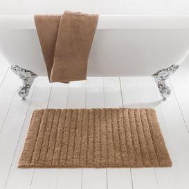 image-Ribbed Walnut Bath Mat Walnut (Brown)