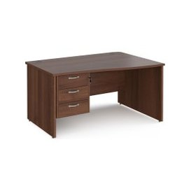 image-Value Line Deluxe Panel End Right Hand Wave Desk 3 Drawers, 140wx80/99dx73h (cm), Walnut, Free Next Day Delivery