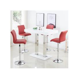 image-Caprice Bar Table In White Gloss With 4 Ripple Bordeaux Stools