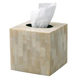 image-Square Tissue Box Cover, Bone