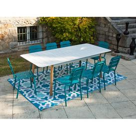 image-Aule 8 Seater Dining Set Sol 72 Outdoor Colour (Table Top): White, Colour (Chair Frame): Blue
