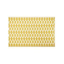 image-Yellow Outdoor Rug with White Graphic Print 180x270