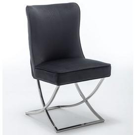 image-Baltec Velvet Upholstered Dining Chair In Black