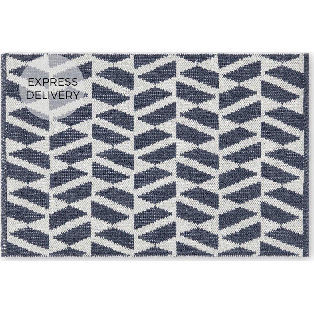 image-Oblique Indoor/ Outdoor Woven Rug, 60x90cm, Teal Blue & Grey