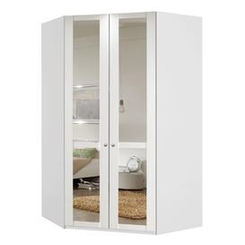 image-New Tork Tall Mirrored Corner Wardrobe In White