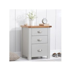 image-Platina Wooden Tall Bedside Cabinet In Oak And Grey