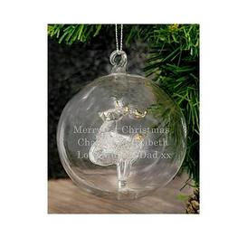 image-Personalised Reindeer Glass Christmas Tree Bauble