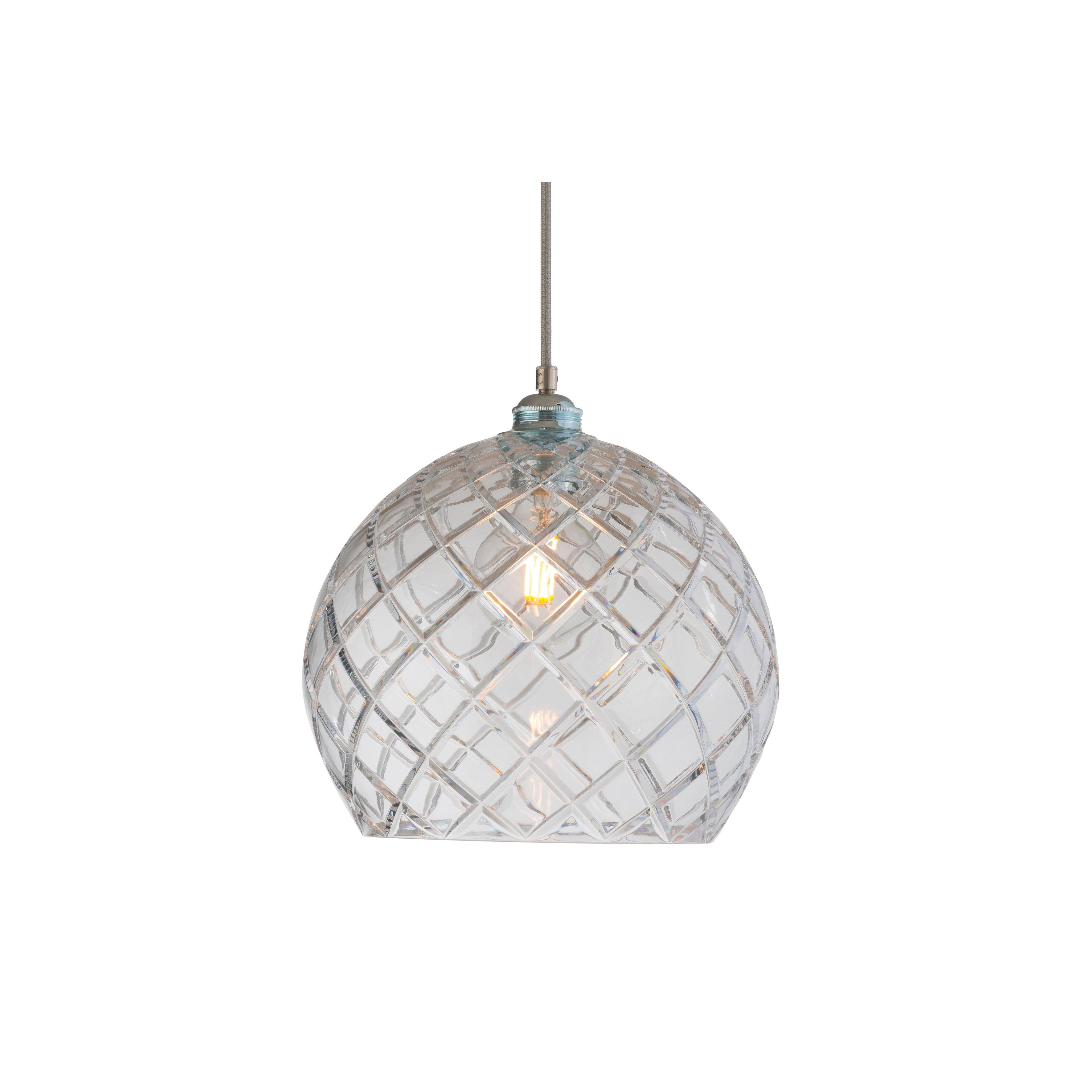 image-Rowan Crystal Pendant Lamp , 28cm, Silver , Large Check