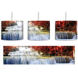 image-Stream in an Autumn Landscape 1 Light Drum Pendant East Urban Home