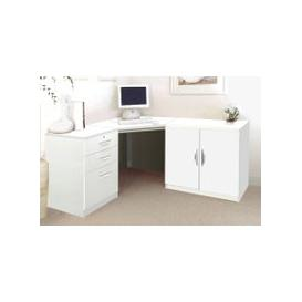 image-Small Office Corner Desk Set With 3 Drawers & Cupboard (White)